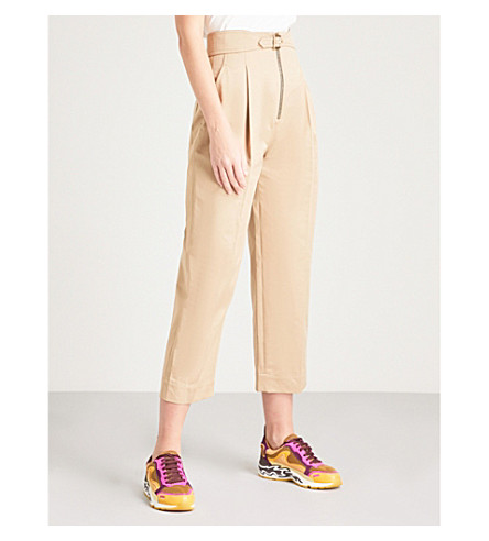 SANDRO Tapered-leg cotton trousers (Beige