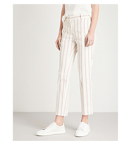 SANDRO Striped cropped cotton-blend trousers (Ecru