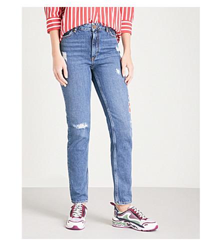 SANDRO Embroidered-detail skinny high-rise jeans (Blue+vintage+-+denim