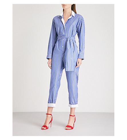 SANDRO Striped cotton jumpsuit (Bleu