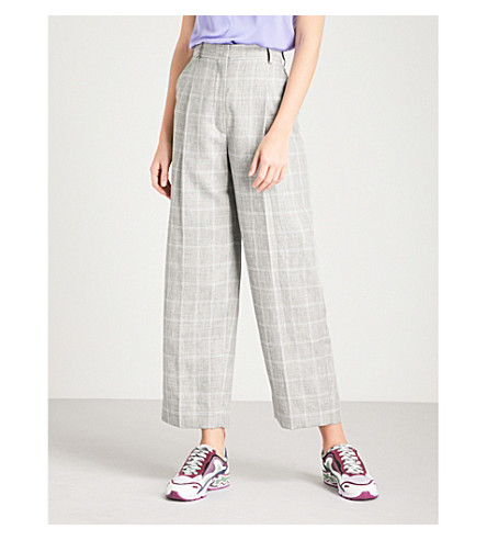 SANDRO Checked straight-leg woven trousers (Gris