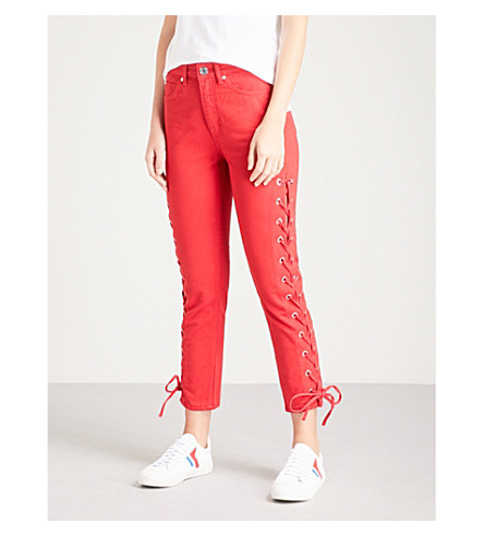 SANDRO Skinny high-rise jeans (Rouge+cerise