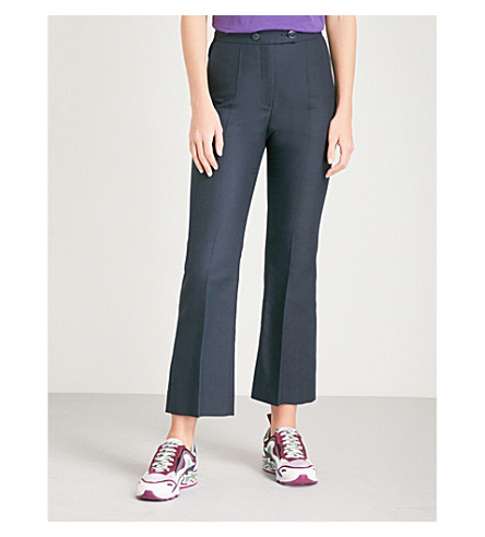 SANDRO Flared cotton-blend trousers (Marine