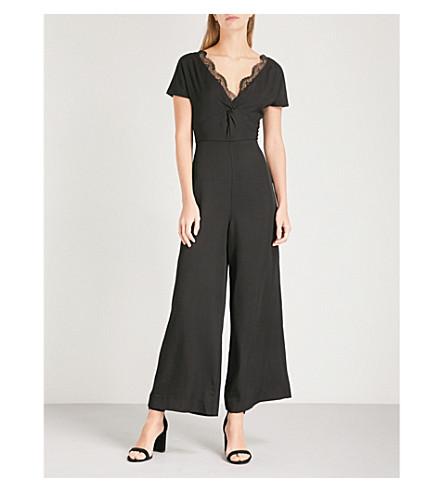 SANDRO Lace-detail cropped crepe jumpsuit (Noir