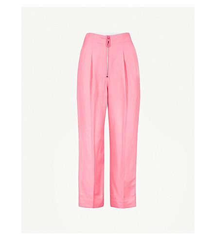 SANDRO Tapered cropped high-rise woven trousers (Malabar