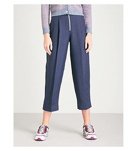 SANDRO Tapered cropped high-rise woven trousers (Marine