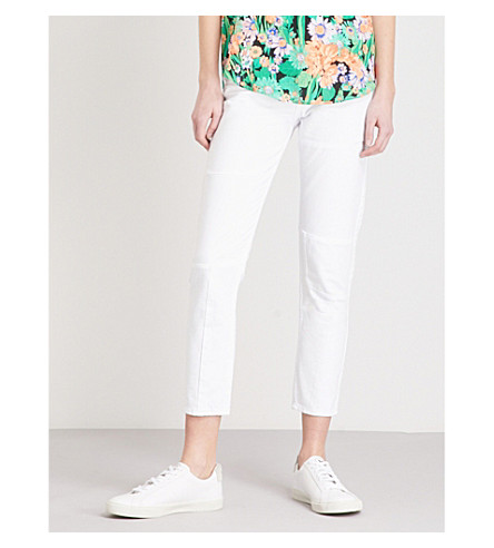 SANDRO Skinny cropped mid-rise jeans (Blanc