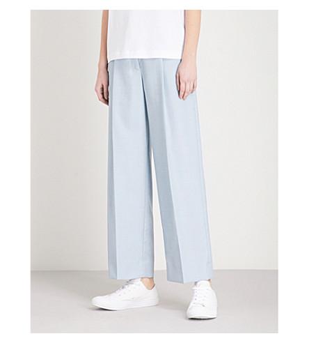 SANDRO Wide-leg woven trousers (Bleu+ciel