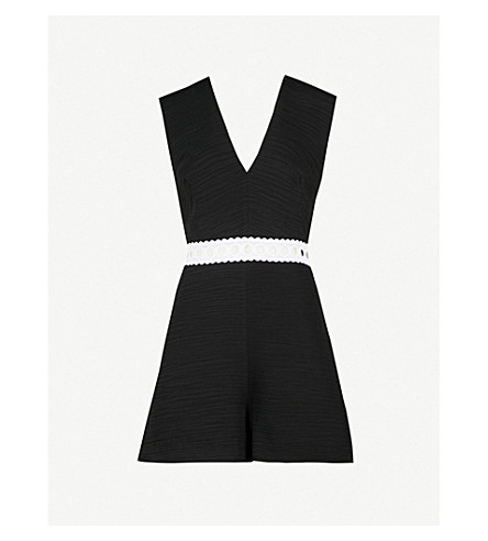 SANDRO Lace-detail crinkled crepe playsuit (Noir
