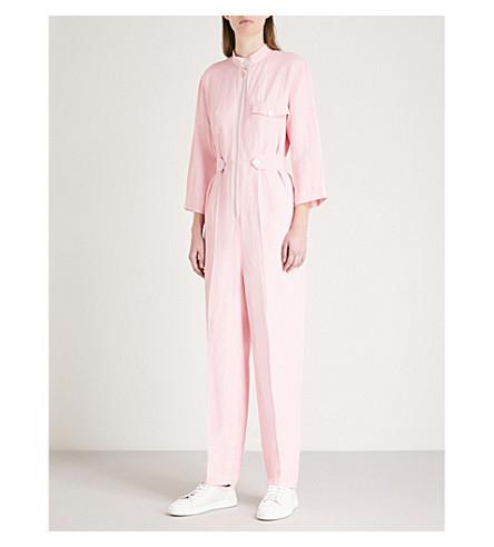 SANDRO Straight-leg twill jumpsuit (Rose+clair
