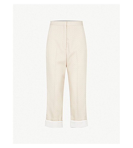 SANDRO Geo-patterned cropped twill trousers (Sable