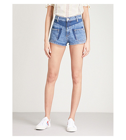 SANDRO Slim-fit denim shorts (Blue+vintage+-+denim