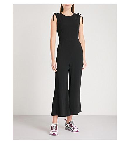 SANDRO Lace-up shoulder crepe jumpsuit (Noir