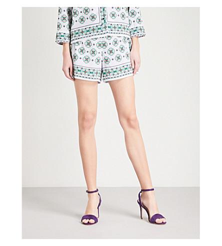 SANDRO Geometric-print high-rise crepe shorts (Bleu+ciel