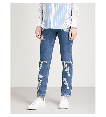 SANDRO Lightning bolt slim denim (Blue+vintage+-+denim