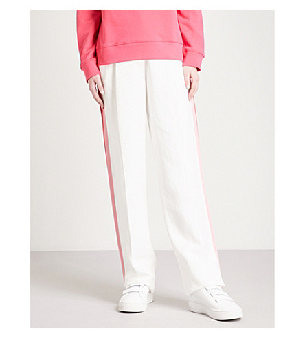 SANDRO Side-stripe straight high-rise woven trousers (Blanc