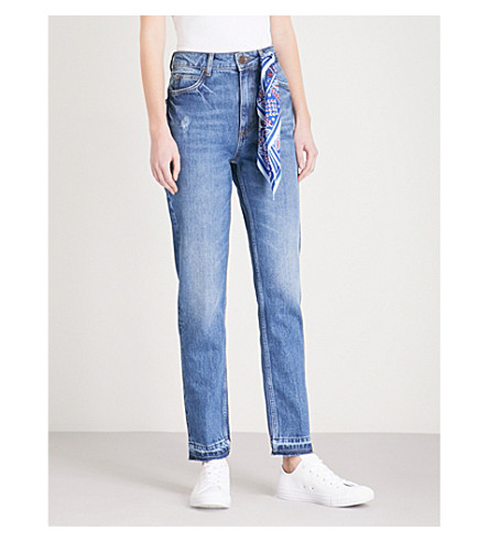 Jeans de vintage denim detalles bufanda con rectos Azul SANDRO pdwZTp