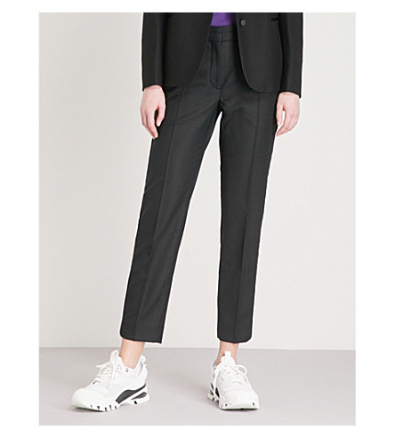 tapered SANDRO tapered Cropped blend Cropped trousers blend wool wool SANDRO Noir CwpxxOqU