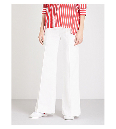 SANDRO Flared high-rise cotton-twill trousers (Ecru