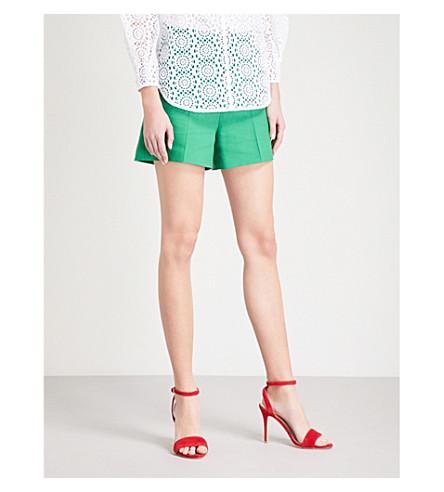 SANDRO High-rise cotton-blend shorts (Vert+gazon
