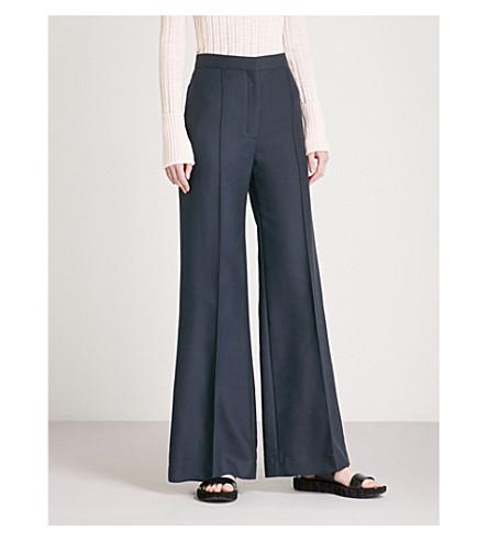 SANDRO High-rise wide-leg cotton-blend trousers (Marine