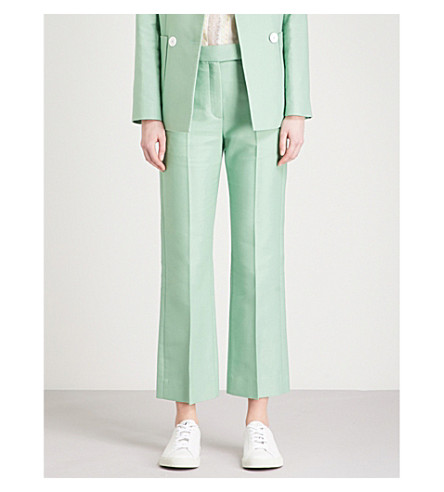 trousers Vert amande rise Straight high SANDRO SANDRO Straight cotton blend 0q1Oq
