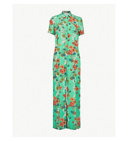 SANDRO Floral crepe jumpsuit (Vert