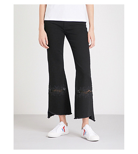 SANDRO Lace-embroidered flared high-rise jeans (Noir