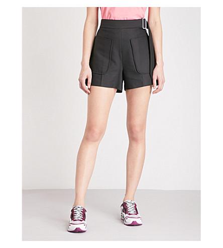 SANDRO High-rise cotton-blend shorts (Noir