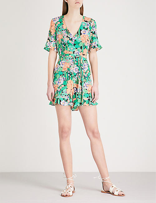 Sandro womens selfridges shop online sandro all over floral print silk playsuit gumiabroncs Images