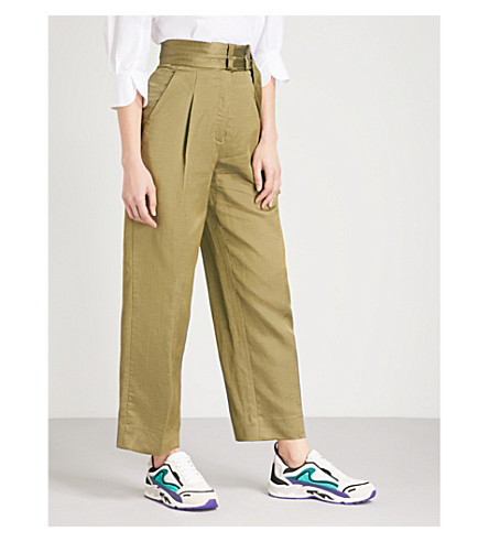 SANDRO Buckle high-rise trousers (Kaki