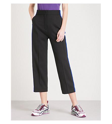 SANDRO Side-stripe straight cropped woven trousers (Noir