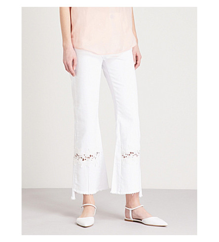 SANDRO Lace-embroidered flared high-rise jeans (Blanc