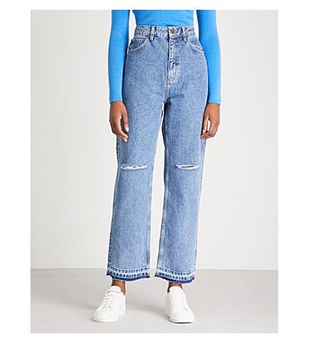 SANDRO 蓬松牛仔牛仔裤 (蓝色 + 复古 + + 牛仔布