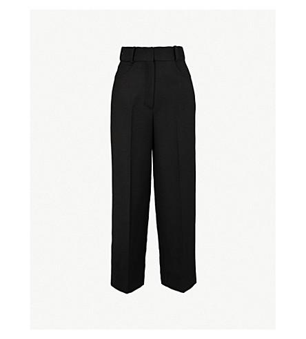 SANDRO 高腰羊毛混纺裤子 (黑色