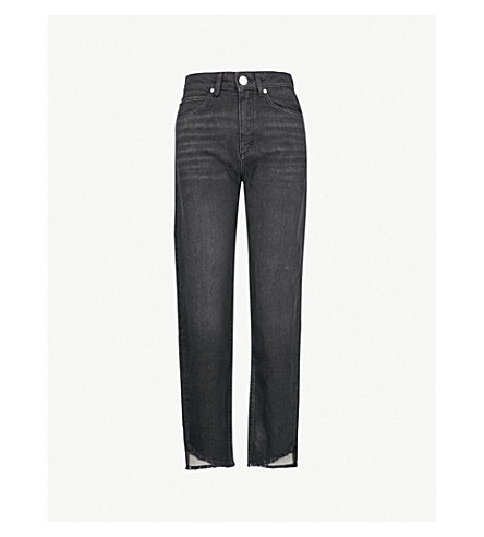 SANDRO 高腰直腿牛仔裤 (黑色