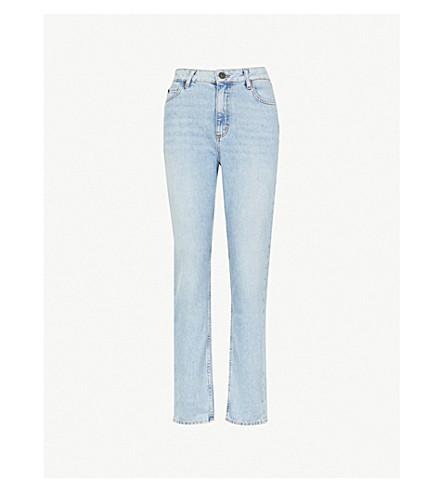 SANDRO 巴黎高腰修身版型直弹力牛仔布牛仔裤 (蓝色 + 复古 + + 牛仔布