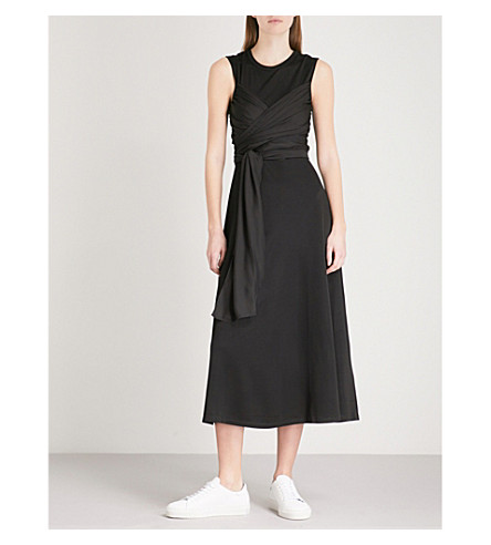 SANDRO Wrap-effect stretch-jersey midi dress (Black