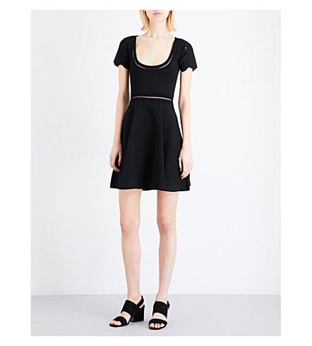 SANDRO Ladder-stitch knitted mini dress (Black