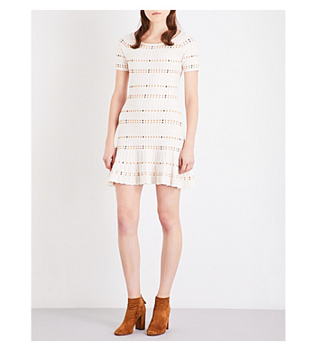 SANDRO Pleated ribbed-knit mini dress (Ecru