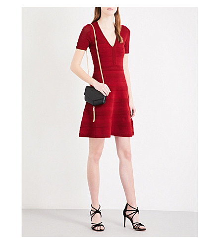 SANDRO V-neck ribbed-knit dress (Burgundy