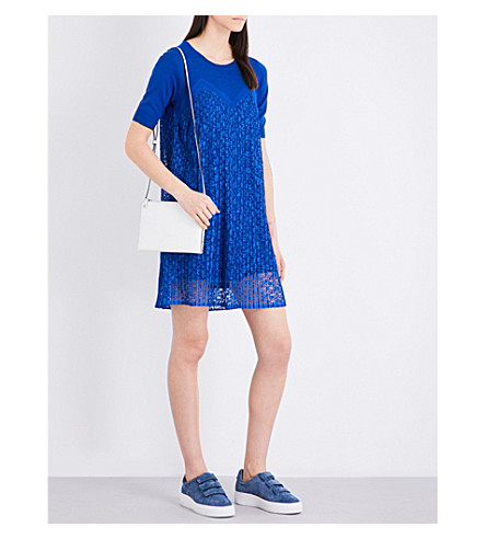 SANDRO Pleated floral-lace and knitted dress (Egyptian+blue
