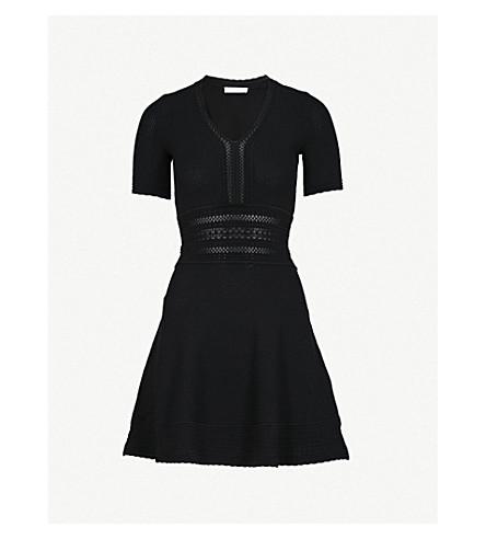 SANDRO Scalloped-trim stretch-knit mini dress (Black