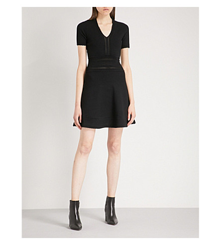SANDRO Scalloped-trim stretch-knit mini dress (Black