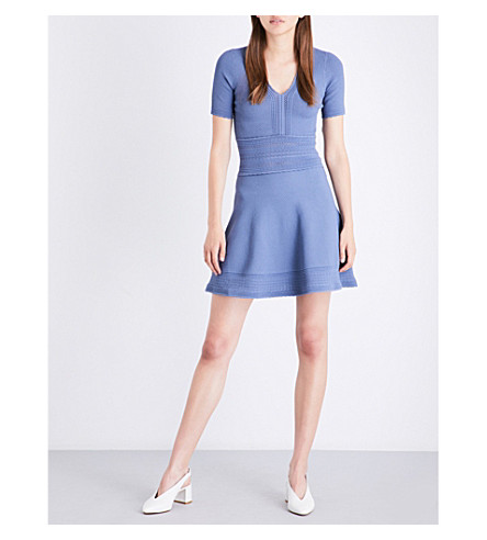 SANDRO Scalloped-trim stretch-knit mini dress (Blue