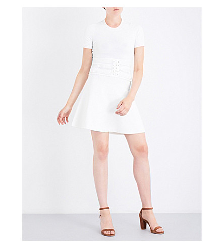 SANDRO Lace-up-detail knitted dress (Ecru