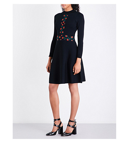 SANDRO Rose-embroidered knitted dress (Black