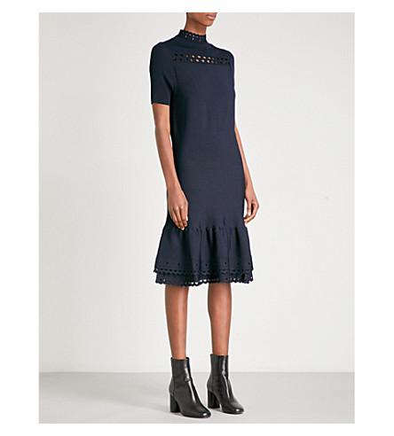 SANDRO Scalloped-trim knitted dress (Navy+blue