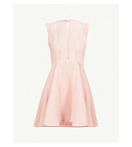 SANDRO Lace-panel woven dress (Blush
