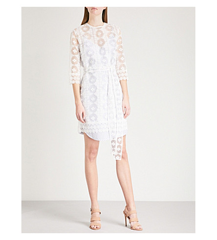 SANDRO Layered lace and pinstriped cotton mini dress (Blanc